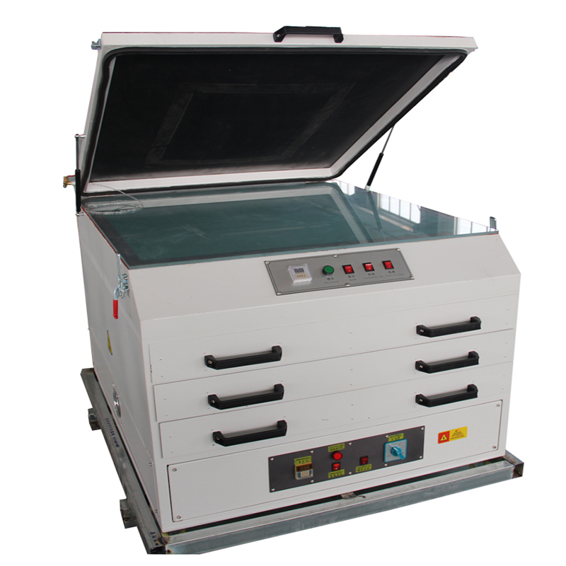 Vacuum exposure units with screen dryer